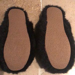 J. Crew Shoes - Brand new j crew black fluffy slippers women's sz8